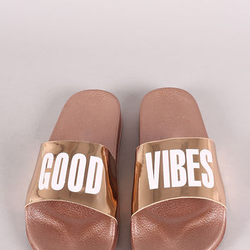 Good Vibes Patent Slide Sandal