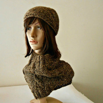 Chunky cowl scarf and beanie set, handknitted neckwarmer plus hat, golden neckwarmer plus hat, alpaca wool cowl and beanie by cosediisa