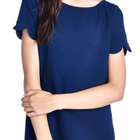 Scalloped Hem Shift Dress - Navy
