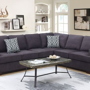 Poundex F6597 2 pc Paulina II ebony linen like fabric sectional sofa with nail head trim
