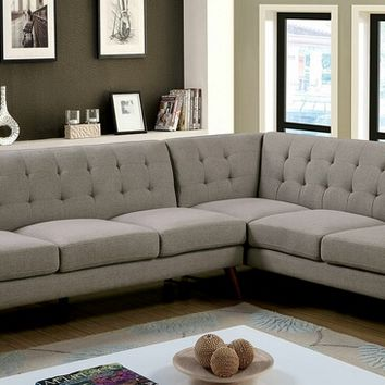2 pc estee collection mid century modern gray fabric upholstered sectional sofa