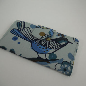 Blue Bifold Wallet, Fabric Wallet, Clutch Wallet, Women's Slim Wallet, Handmade Wallet, Alexander Henry Larkspur Indigo, Ready to Ship