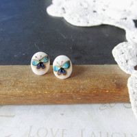 PAINT petite watercolor butterfly post earrings (gold backs) nickle-free