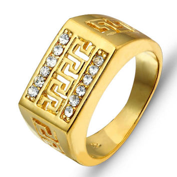 Jewelora Classic 10mm Gold Plated Party Wedding Bands For Men Ri100244