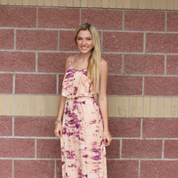 Ruffle front tie dye maxi dress-more colors