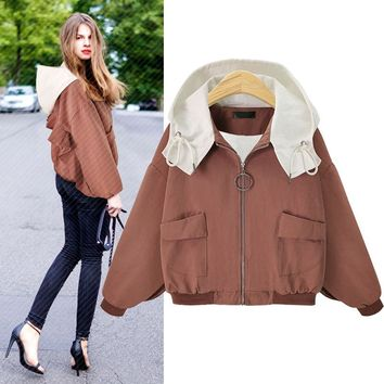 Autumn New Style Zipper Wide Pocket Wide Pocket Loose Large Cotton-padded Clothes