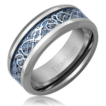 8MM Titanium Ring Wedding Band Celtic Dragon Design over Blue Carbon Fiber Inlay