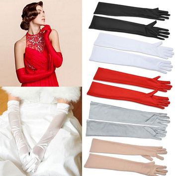 Satin Long Finger Elbow Sun protection gloves Opera Evening Party Prom Costume Fashion Gloves black red white grey women
