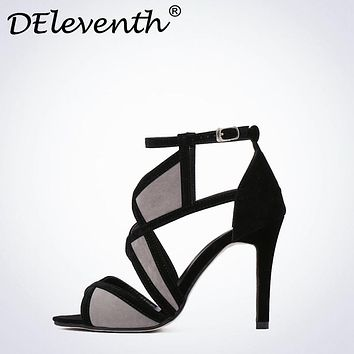 2017 New Vogue Cut-Outs Sexy Women's Peep Toe High Heels Sandals Shoes Woman Ankle Strap Buckle Shoes Suede Fretwork Black Grey