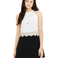 Stoosh Juniors' Lace-Trim Tank Top