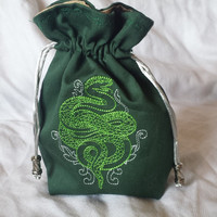 Embroidered Drawstring Bag / Jewelry Pouch / Dice Bag / Makeup Bag / Coin Purse / Wristlet - Snake Crest