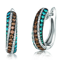 "Le Vian® ""Exotics"" Chocolate and Blueberry Diamond® Pave Earrings Set in 14K White Gold"