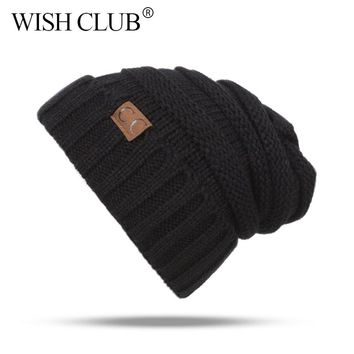 New Winter Beanies Hats Solid Knitted Cap