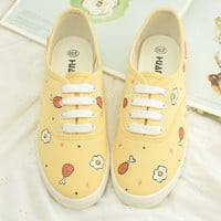 Lovely students poached egg hand-painted shoes