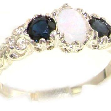 Ladies Solid Sterling Silver Natural Opal & Sapphire English Victorian Trilogy Ring - Size 10 - Finger Sizes 5 to 12 Available