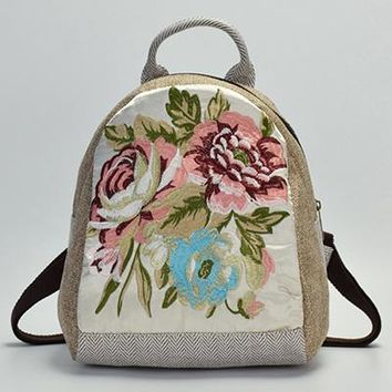Girls bookbag ETAILL 2018 Ethnic Hmong Indian Floral Embroidered Canvas Backpack School Bag For Girls Rucksack Female Bookbags Travel Backpack AT_52_3