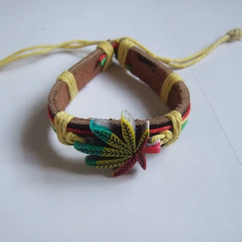 Rasta Hemp Style Leather Bracelet