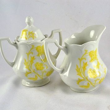 Staffordshire Creamer Sugar J & G Meakin  - Yellow Transferware Windsong Pattern - England Ironstone