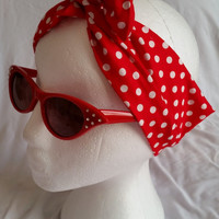 It,s A Wrap! hair wrap. red and white spot with inner wire. 50s retro vintage look
