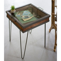 Recycled Wood and Metal Showcase Table | Accent Tables, Glass Table Top