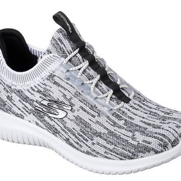 Skechers White & Black Ultra Flex-Bright Horizon Shoes