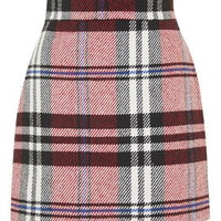 PETITE Checked Twill High-Waisted Skirt - Red