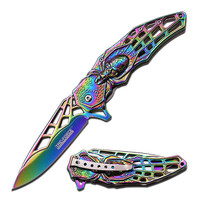 "Tac-Force Spring Assisted Knife 4.75"" w/ 3.75"" Rainbow Blade"