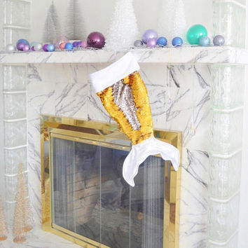Mermaid tail christmas stocking - holiday stocking - gold mermaid gift -  personalized stocking - silver 4e76a8437a