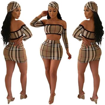 Summer 2018 hot style, stylish classic plaid, sexy strapless top, skirt, suit, including headscarf