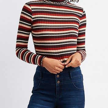 Striped Lettuce-Edge Mock Neck Crop Top | Charlotte Russe