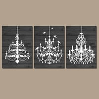 CHANDELIER Wall Art Canvas or Prints Gray Wood Effect Wall Art Rustic Bathroom Wall Art Bedroom Decor Bathroom Picture Set of 3 Decor