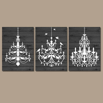 CHANDELIER Wall Art Canvas Or Prints Gray Wood Effect Wall Art Rustic  Bathroom Wall Art Bedroom