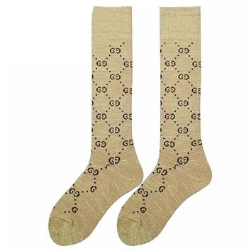 GUCCI tide brand in autumn and winter tube socks College wind Gaotong letter knit piled cotton