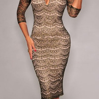 Brown Floral Lace Bodycon Dress