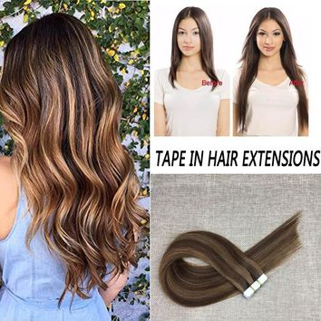 14-24 inches Tape In Real Hair Extensions Brazilian Adhesive Tapes Seamless Straight Skin Weft Hair Piece