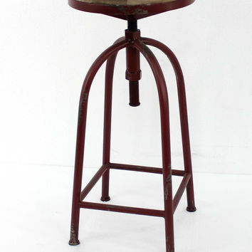 Antique Bar Stool with Red Metal Frame and Wood Top