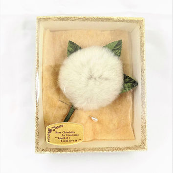 Chinchilla Fur Pin, Wrapped Stem, CreaChins, Vintage Accessories