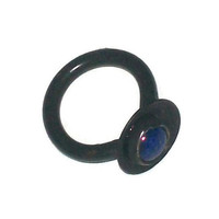 Black metal dome ring set with lapis lazuli