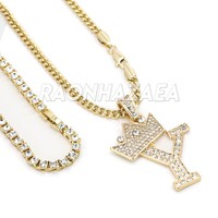 Iced Out Crown Y Initial Pendant Necklace Set