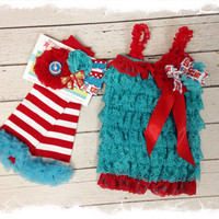 Suess Birthday Outfit for Girls.....Baby Girls 1 Birthday Set....Cake Smash...Photo Props...Turquoise and Red Petti Romper Set