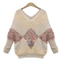 Beige Plus Size V-Neck Pattern Knitted Sweater