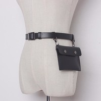 Leisure Chain Split Joint Solid Color Leather Belt Womens
