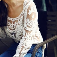 DEAL of the DAY! Cream Lace Crochet Top