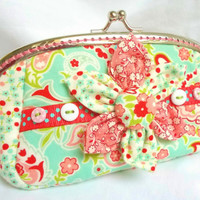 Penny in Bloom handmade coin purse in duck egg, pink & red