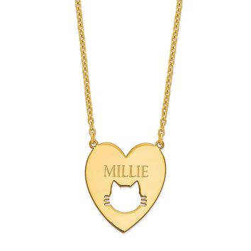 Sterling Silver Heart With Cat Face Engraved Name Necklace