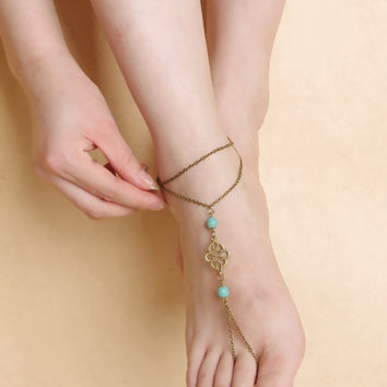 Stylish Sexy Ladies Shiny Gift Jewelry Cute New Arrival Accessory Simple Design Vintage Turquoise Metal Hollow Out Anklet [7241009287]