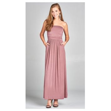 Adorable Strapless Buttery Soft Dusty Rose Maxi Dress