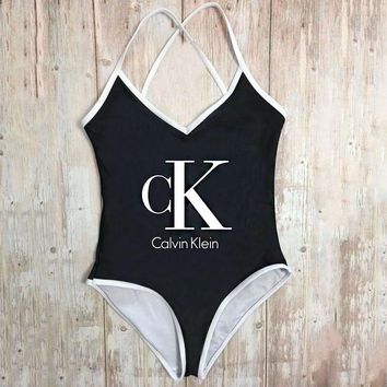 CK Calvin Klein New Fashion Women Sexy Letter Print Backless One Piece Bikini Swimsuit
