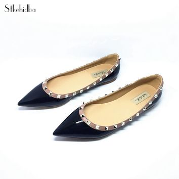 Stkehidba Women Shoes Rivet Flats Shoes Women Genuine Leather Shoes Ankle Strap Pointed Toe Shoes Studded Ballerinas Size33-43