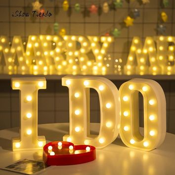 Wedding Party Decoration Alphabet Letter Lights LED Light Up White Plastic Letters